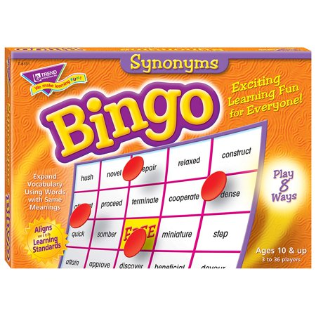 Synonyms Bingo Game, 36 playing cards and Over 700 chips and Caller's mat and cards and Ideal for teaching Grade 4 to Grade 8 and Ages 9 to 13 By Trend Enterprises Inc - Bingo Bags For Sale