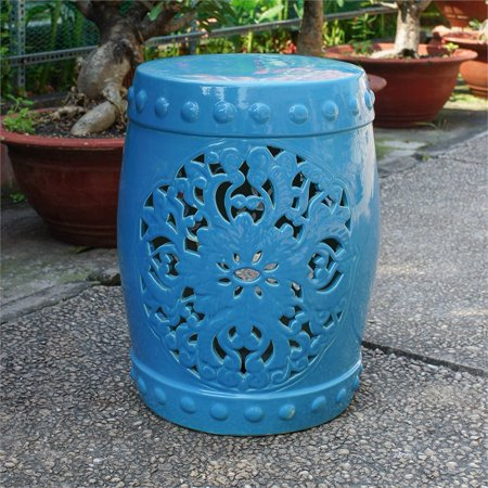 Remarkable International Caravan Isfahani Ceramic Garden Stool In Aqua Andrewgaddart Wooden Chair Designs For Living Room Andrewgaddartcom