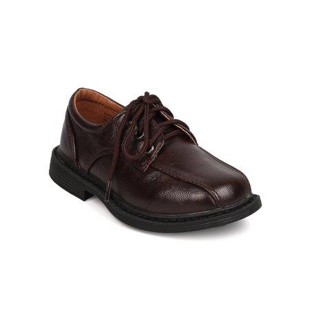 School Rider FB53 Leatherette Square Toe Lace Up Dress Shoe (Toddler Boy / Little Boy / Big Boy)