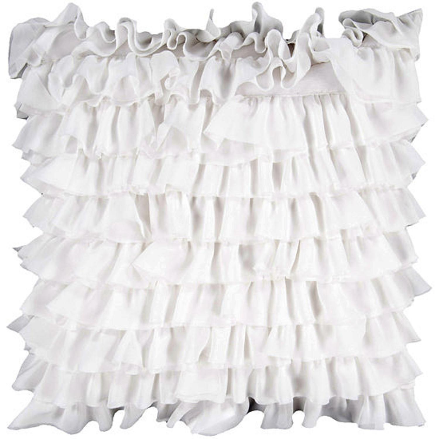 """18"""" Winter White Tulle Ruffle Tiered Decorative Throw Pillow"""