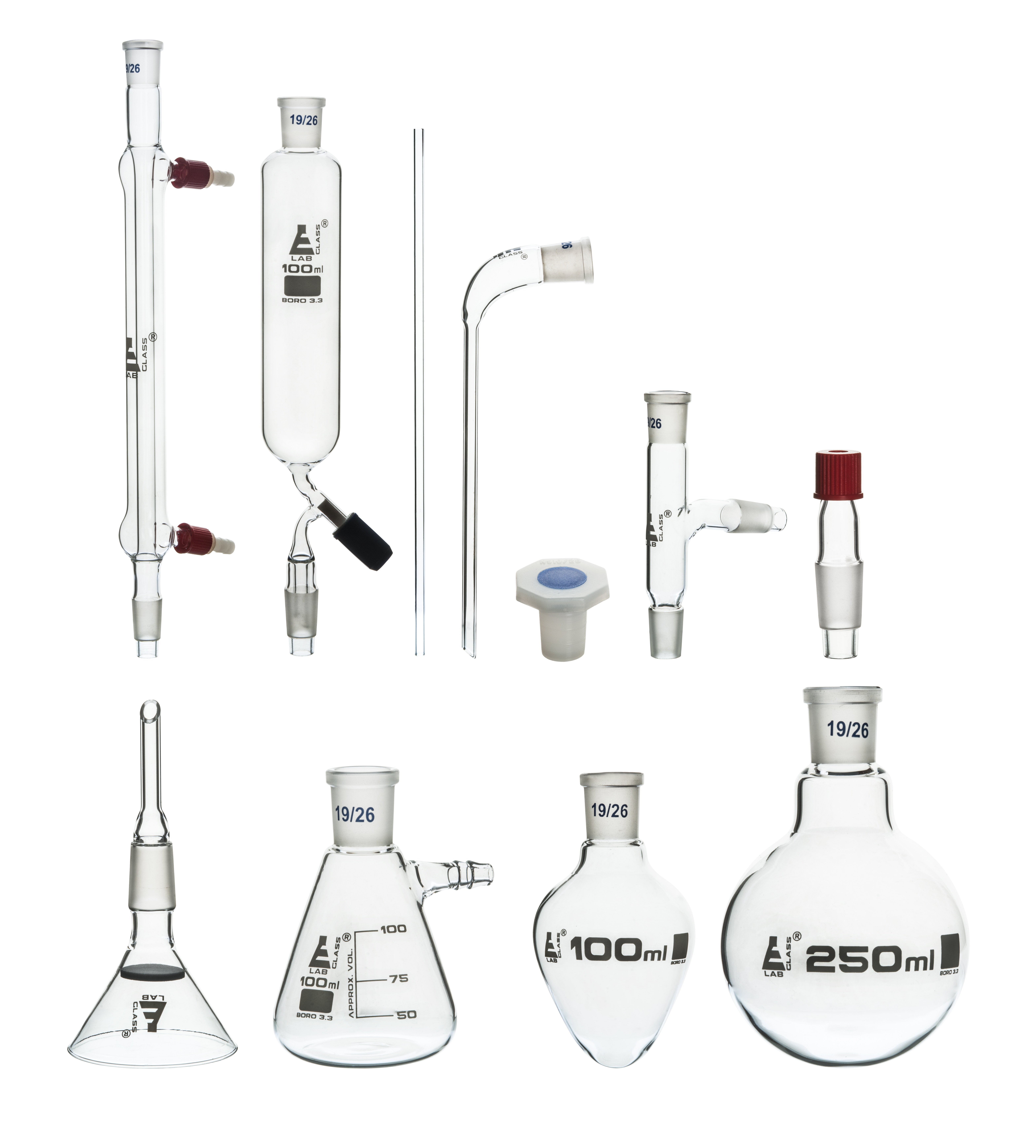 Eisco Labs Organic Chemistry and Distillation 9 Piece Set