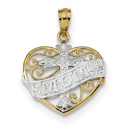 14k yellow gold w rhodium mom cross inside filigree heart pendant