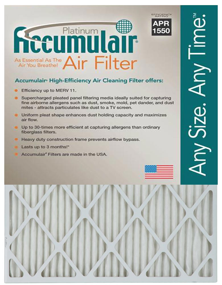 16x25x4 (15.5x24.5x3.75) MERV 11 Aftermarket Accumulair Replacement Filter by Filters-NOW