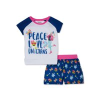 Jojo Siwa Girls Exclusive 4-12 Short Sleeve & Matching Shorts Pajama Set