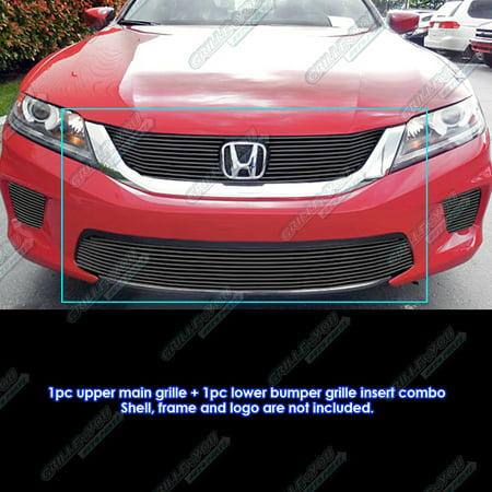 Honda Accord Billet Grille - Fits 2013-2015 Honda Accord Coupe Bolt Over Black Billet Grille Combo #H61291H
