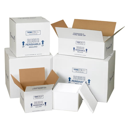 201C White 6 Inch x 4 1/2 Inch x 3 Inch Corrugated Insulated Shipping Cartons Kit Box Made In USA CASE OF 24