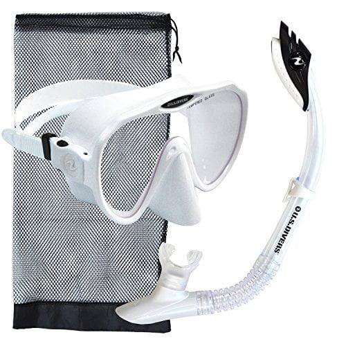 U.S. Divers Malibu Silicone Frameless Free Diving Mask Snorkel Set,White by U.S. Divers