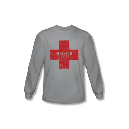 MASH 1970's War Comedy TV Series 4077th Red Cross Adult L-Sleeve T-Shirt - Men's 1970's Clothing