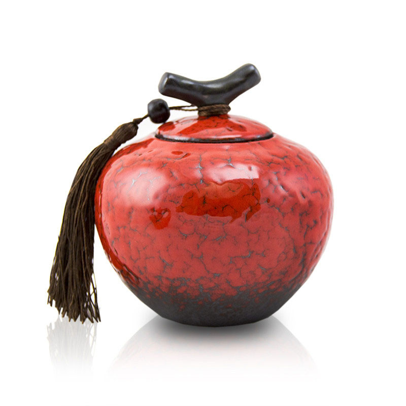 Ceramic Memorial Urn For Adults - Small 50 Pounds - Crimson Red Branch - Engraving Sold Separately