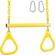 Swing Set Stuff Inc. Trapeze Bar with Rings and Coated Chain (Yellow)