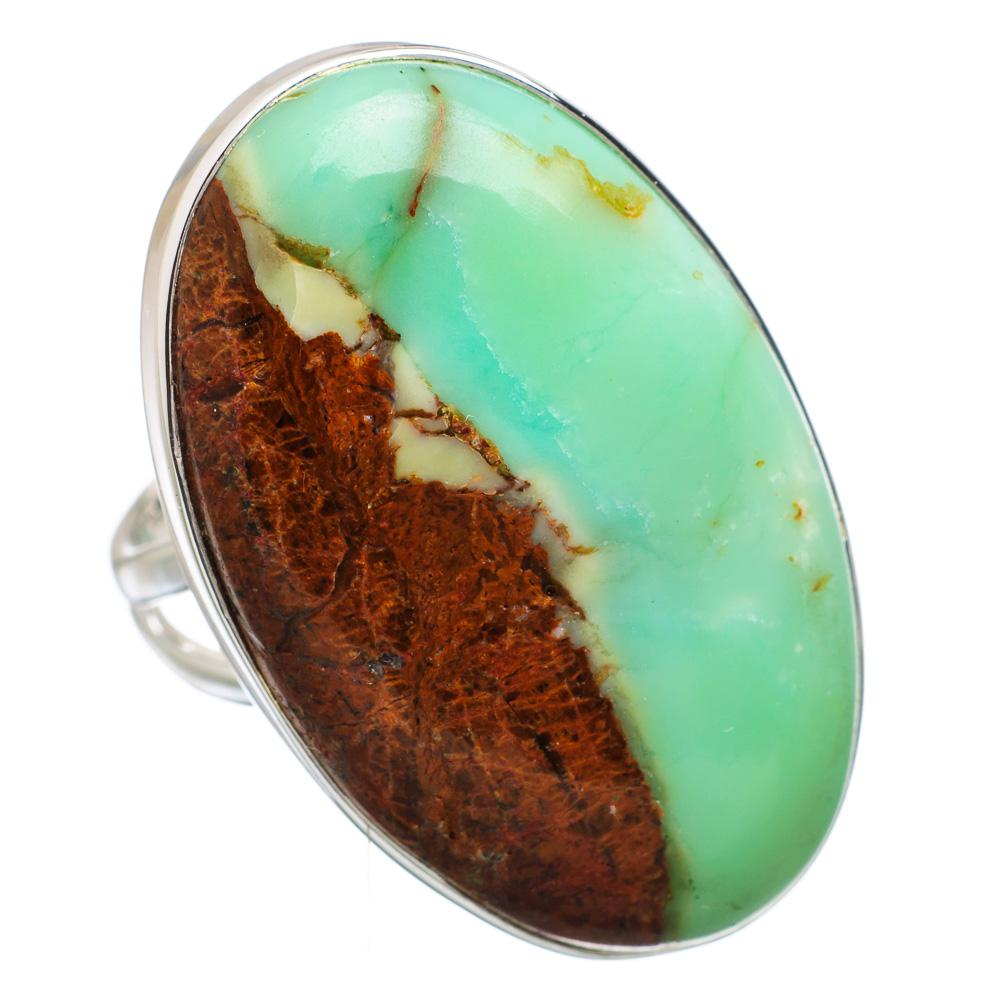 Ana Silver Co Large Boulder Chrysoprase 925 Sterling Silver Ring Size 8.5 RING836530 by Ana Silver Co.