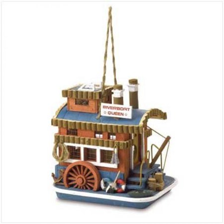 Gifts & Decor Riverboat Queen Outdoor Wooden Bird House/Feeder