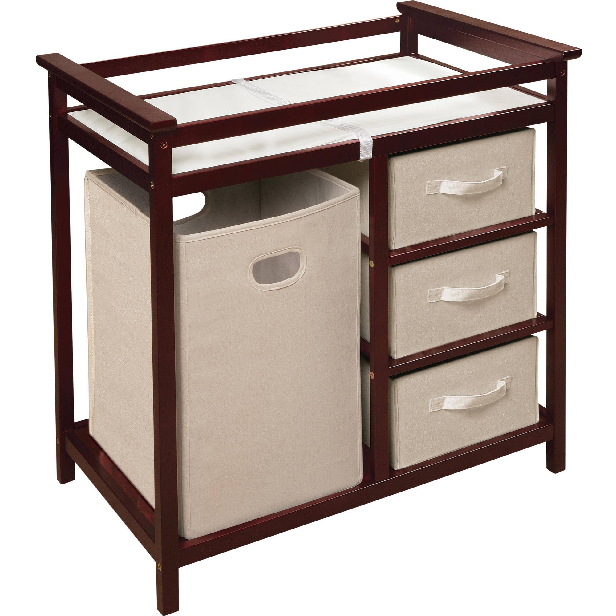 Badger Basket Modern Changing Table With 3 Baskets And Hamper, Choose Your  Finish