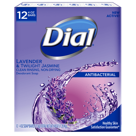 Dial Antibacterial Deodorant Bar Soap, Lavender & Twilight Jasmine, 4 Ounce Bars, 12