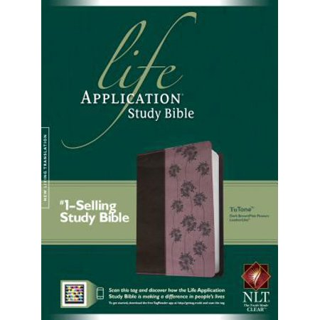 Life Application Study Bible  New Living Translation  Dark Brown   Pink Flowers Tutone  Leatherlike