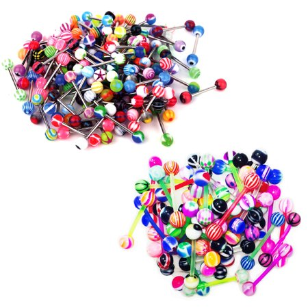 BodyJ4You 40PC Tongue Barbells Nipple Rings 14G Flexible Bar Steel Bar Body Piercing Jewelry