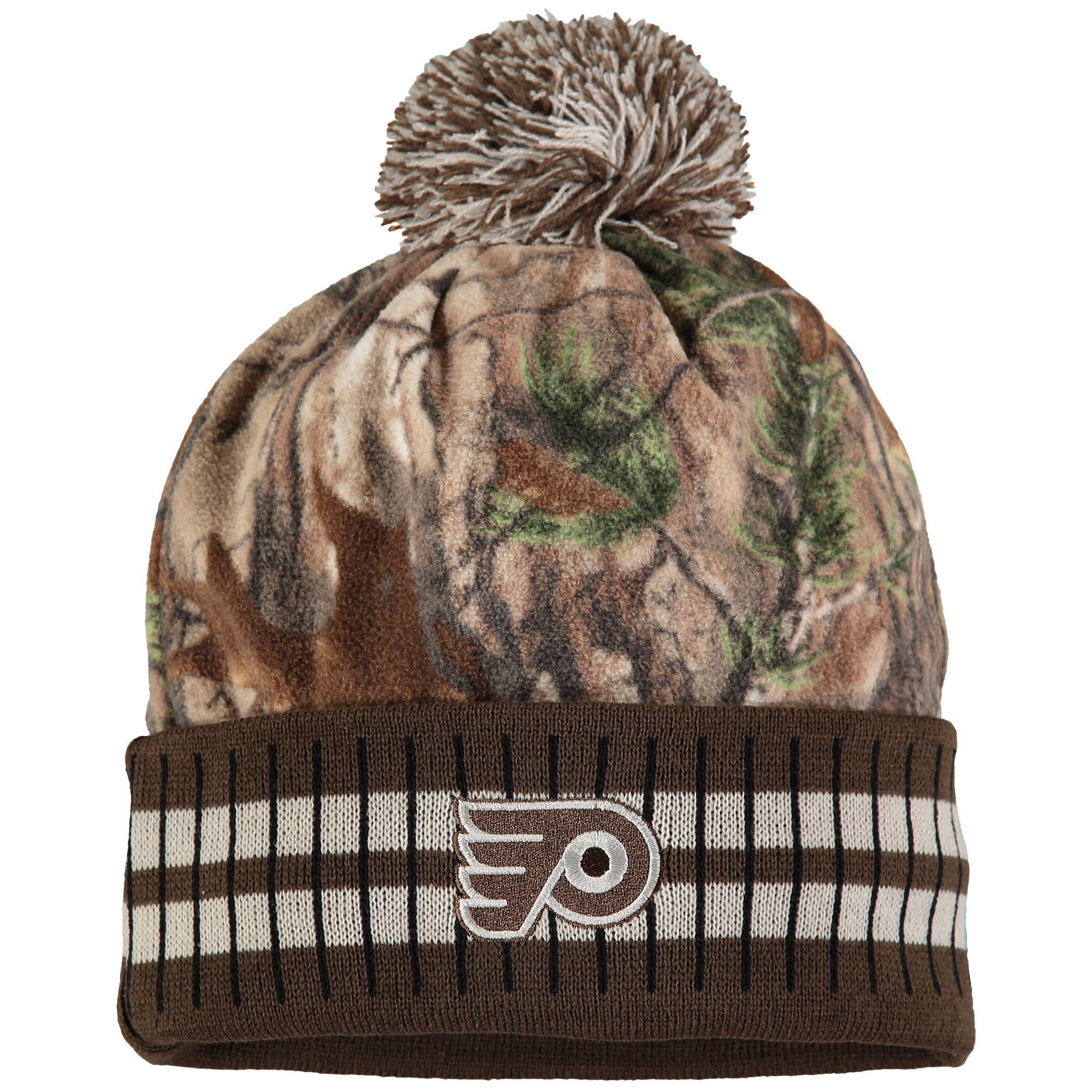 Philadelphia Flyers Old Time Hockey Realtree Xtra Cuffed Knit Hat With Pom - Camo/Brown - OSFA