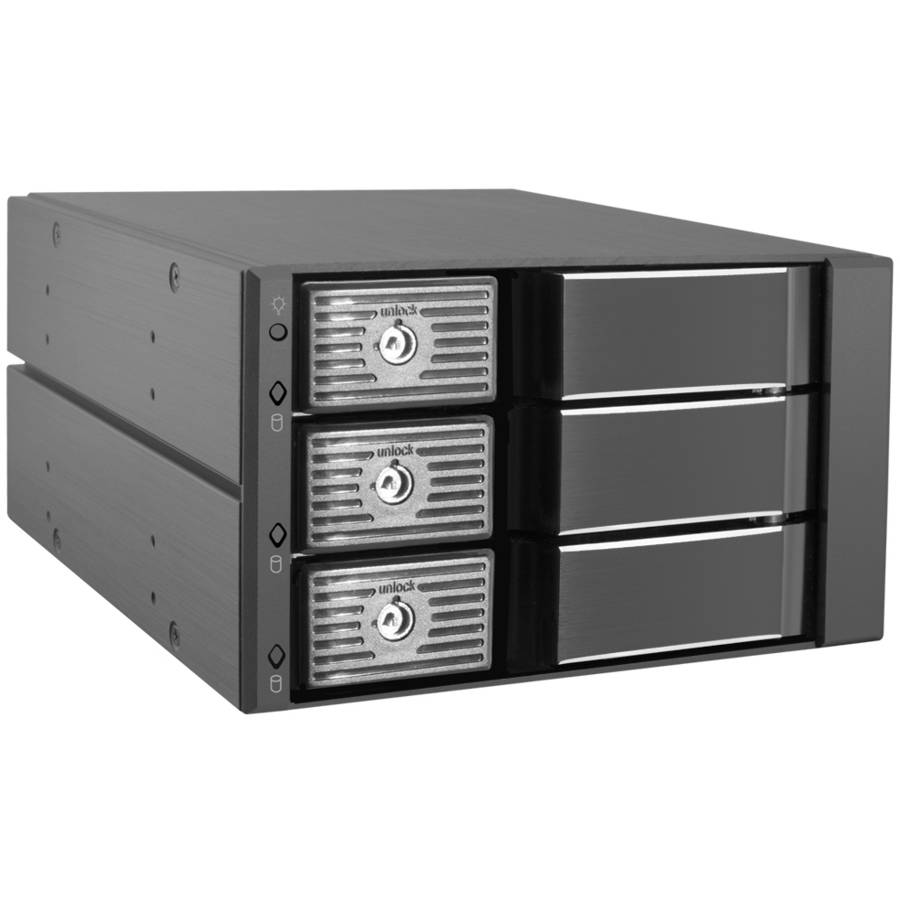 "Kingwin 5.25"" Tray-Less SATA Mobile Rack for 3 x 3.5"" HDDs"