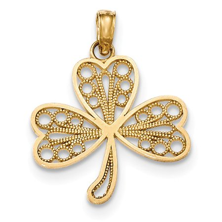 14K Yellow Gold Polished Filigree 3 Leaf Clover Cut-out Pendant Gold Three Leaf Clover