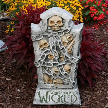 Sunnydaze No Rest for the Wicked Tombstone Graveyard Halloween Decoration, 24-Inch Tall - Halloween Graveyard Lighting Ideas