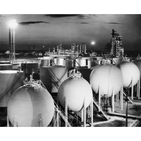 Fuel storage tanks at an oil refinery Cities Service Refinery Lake Charles Louisiana USA Canvas Art -  (18 x 24) ()