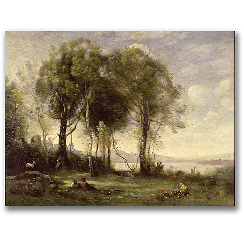 "Trademark Fine Art ""The Goatherds Of The Castle"" Canvas Wall Art by Jean Baptiste Corot"