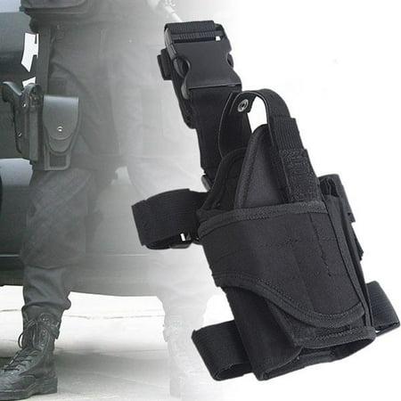 Gun Leg Holster With Belt (Adjustable Waterproof Tactical Puttee Thigh Right Leg Pistol Gun Holster)