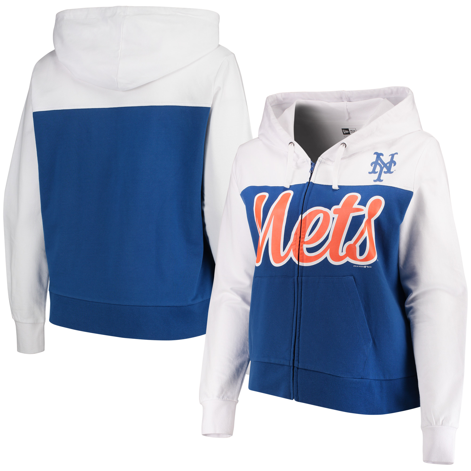 New York Mets 5th & Ocean by New Era Women's Plus Size French Terry Color Block Full-Zip Hoodie - Royal/White