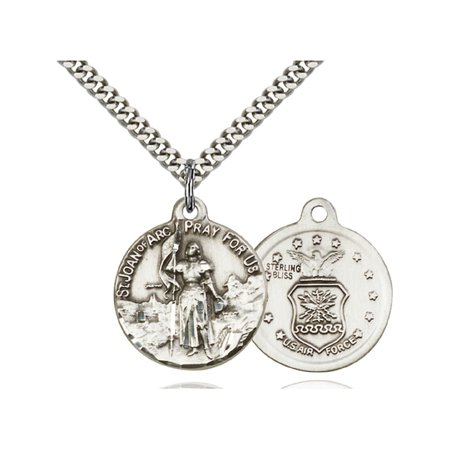 Sterling Silver St. Joan of Arc Pendant 7/8 x 3/4 inches with Heavy Curb (Arc Pendant)