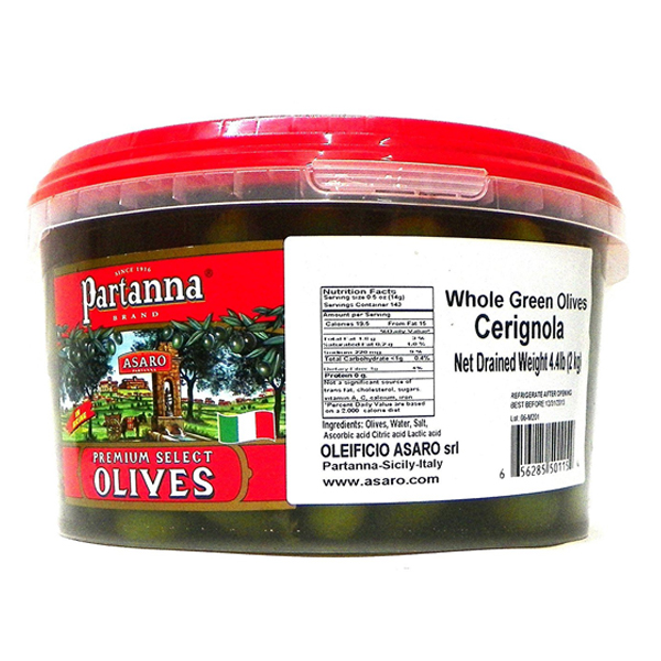 Partanna Premium Select Whole Cerignola Green Olives 70.4 oz