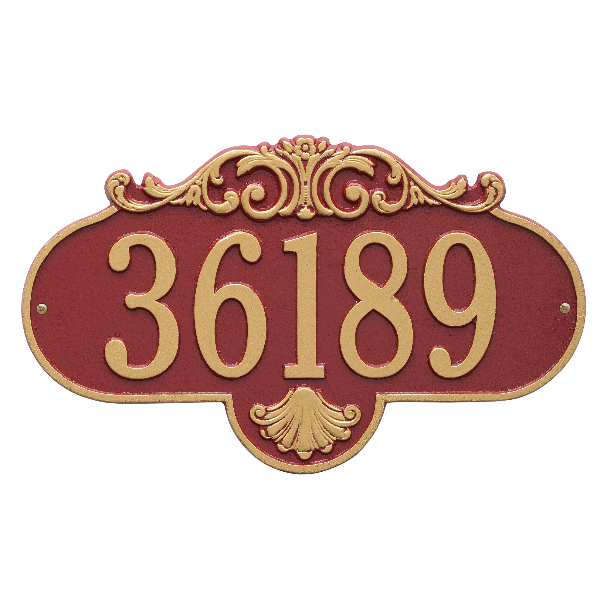 Personalized Rochelle 1-Line Grande Wall Plaque in Red/Gold