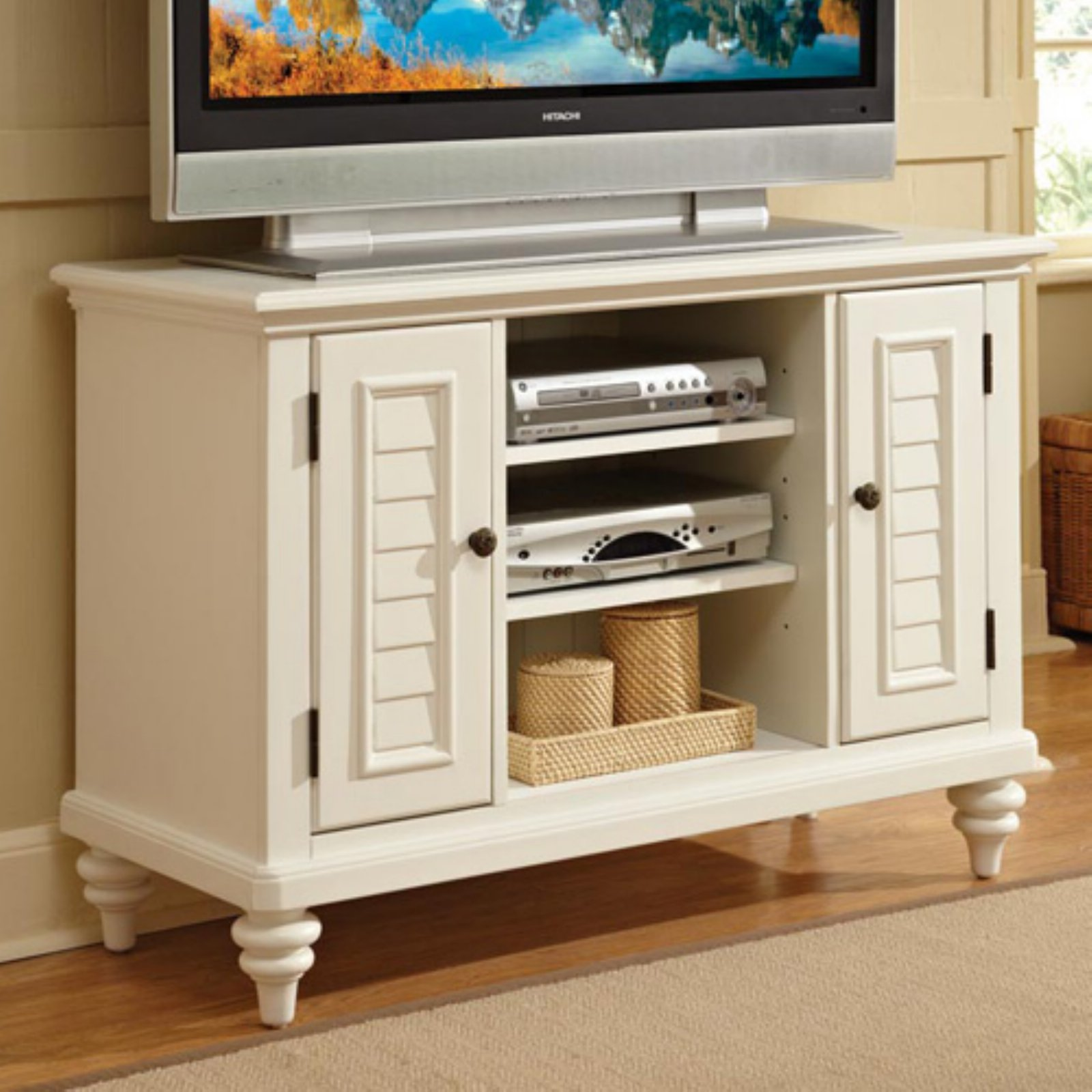 Home Styles Bermuda Brushed White TV Stand
