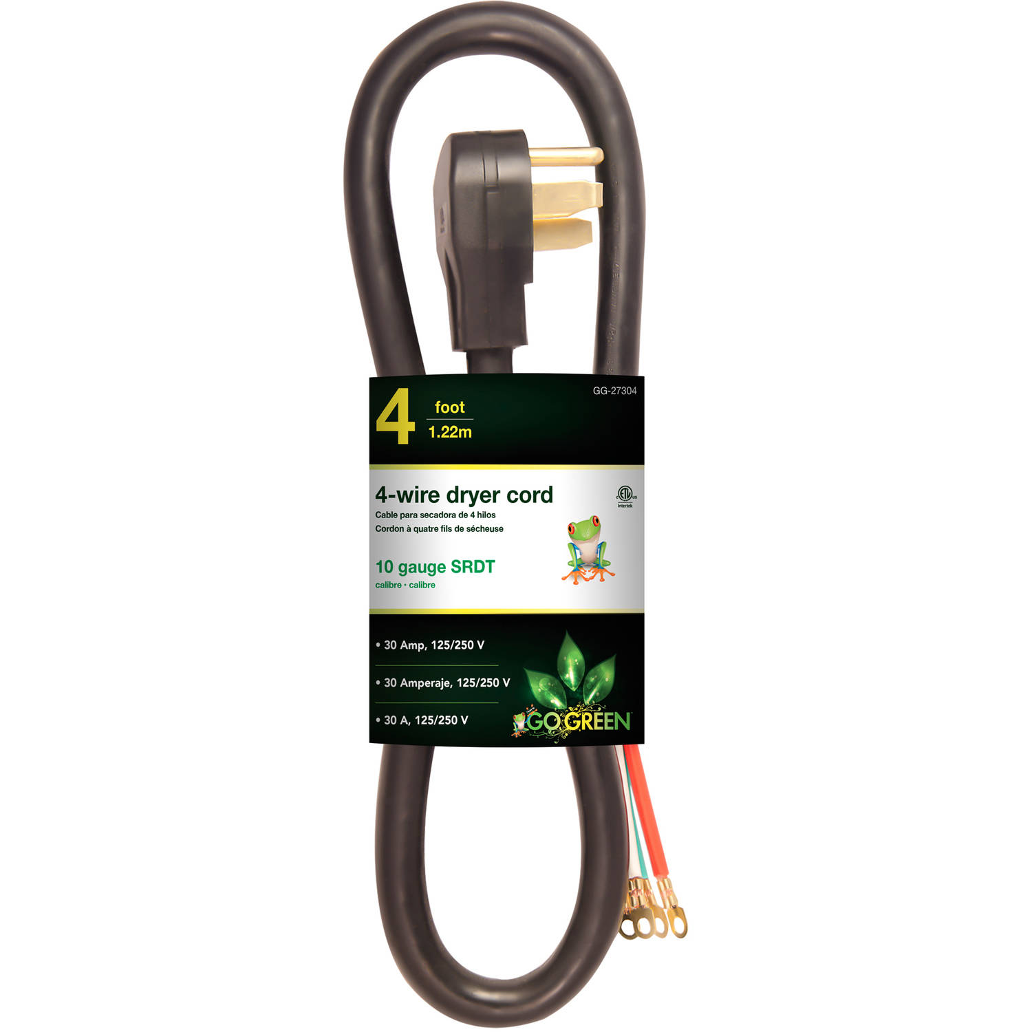 GoGreen Power 4' 4-Wire Dryer Cord, Black, 27304