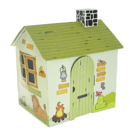 Playhouse Windows And Doors - Incredible Full Color Wild Safari Themed Dollhouse Play House With Functioning Door, Window and Roof Hatch