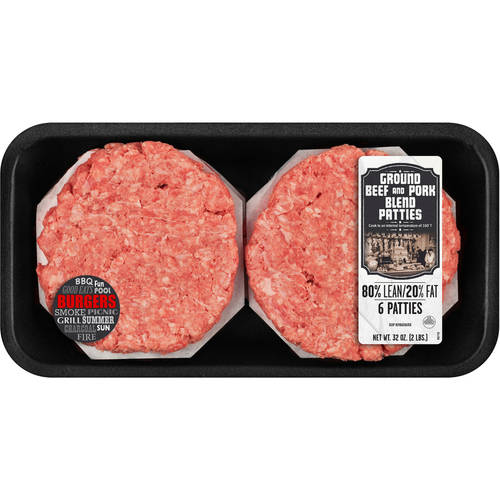 80% Lean/20% Fat, Ground Beef and Pork Patties, 6ct, 2 lb