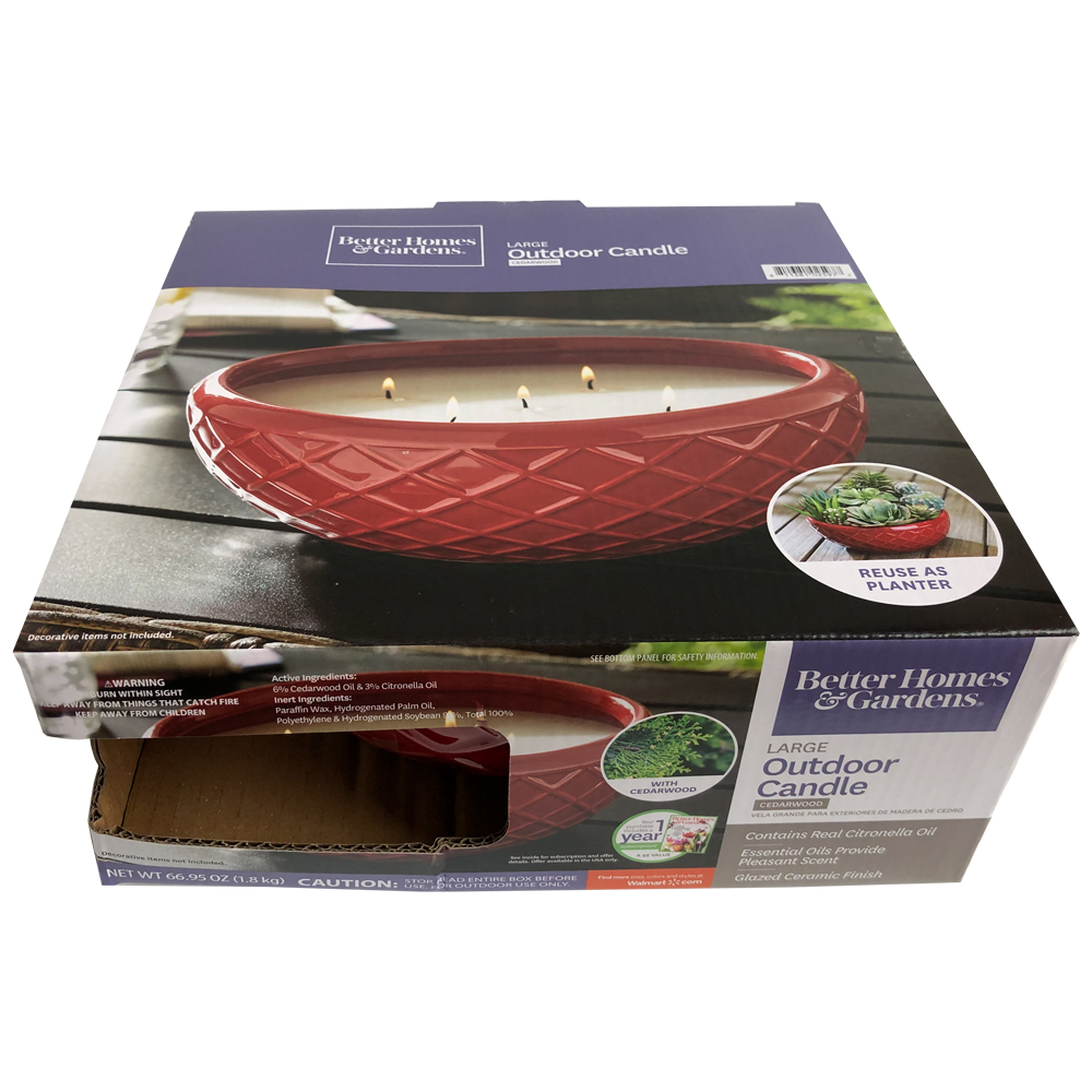 Better Homes & Gardens Large Red Glazed Ceramic Citronella Outdoor Candle with Cedarwood Essential Oil, 66.95oz