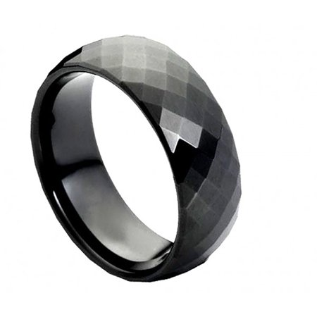 8mm Tungsten Domed Black Enameled Faceted Ring Wedding Band Ring For Men Or (24x16x112mm Faceted Dome)