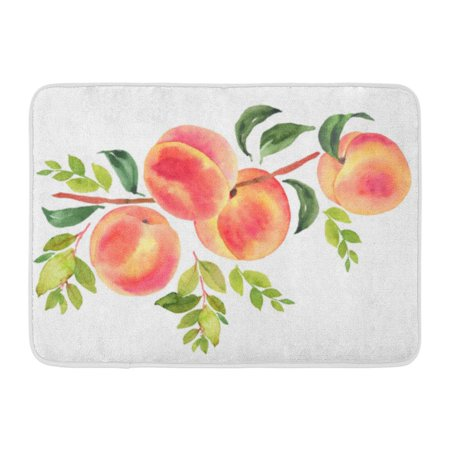 - GODPOK Composition Green Peach Branch with Watercolor Botanical Delicious Rug Doormat Bath Mat 23.6x15.7 inch