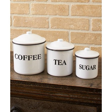 Set of 3 Country Enamelware Kitchen Canisters - ()