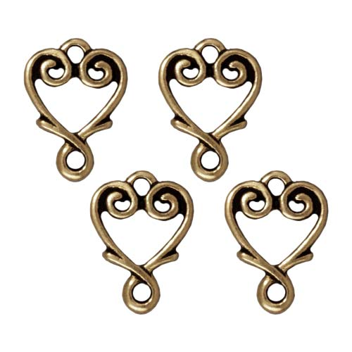 Brass Oxide Finish Lead-Free Pewter Vine Heart Connector Links 13mm (4)