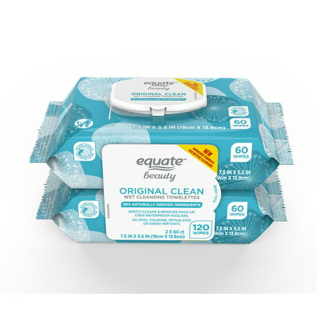 Equate Beauty Makeup Remover Wipes, Original Clean, Wet Cleansing Towelettes, 120 Count, 2 (Atopalm Moisturizing Cleansing Wipes)