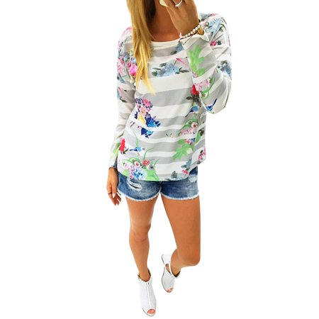 Wllw Women Striped Floral Flower Print Long Sleeve Casual Comfy Blouse Tops