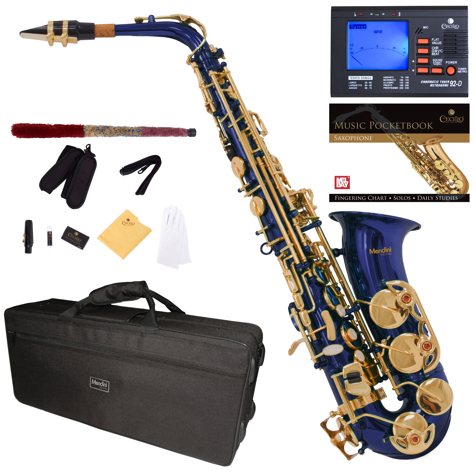 Mendini by Cecilio Eb Alto Sax w/Tuner, Case, Mouthpiece, 10 Reeds, Pocketbook and 1 Year Warranty, MAS-BL Blue Lacquer E Flat Saxophone