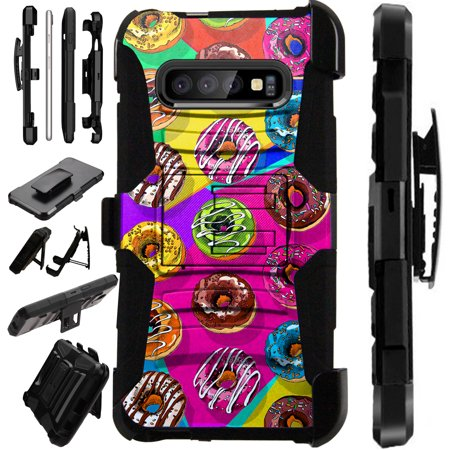 Compatible Samsung Galaxy S10 Lite S10E (2019) Case Armor Hybrid Phone Cover LuxGuard Holster (Donut Party)](Phone Party)