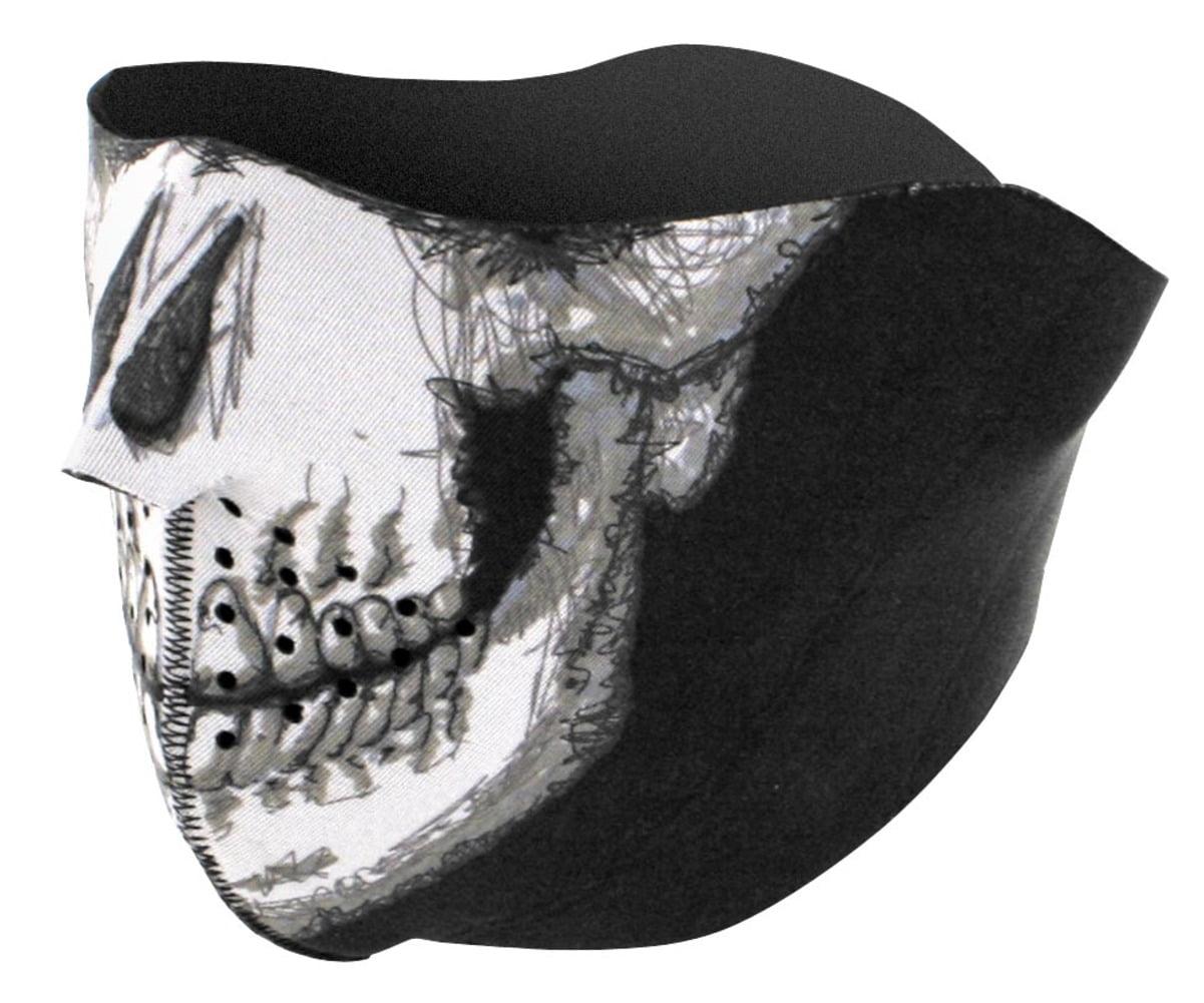 Zan Headgear Half Face Mask Skull Face (White, OSFM) by Zan Headgear