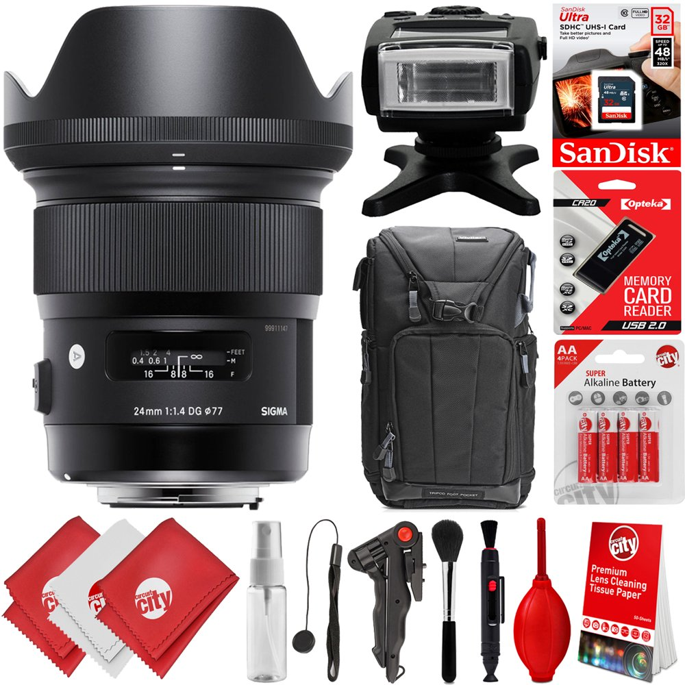 Sigma 24mm f1.4 ART DG HSM Lens for Sony E Mount DSLR Cameras + 32GB 17PC Bundle for A6500 A6300 A6000 A5100 Alpha a7 Alpha a7R II Alpha a7S II Alpha a7 II Alpha a7 III Alpha a7R III Alpha a9
