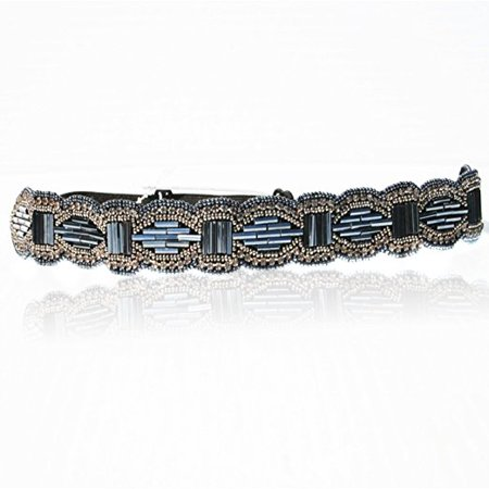 Women's Fashion Headband Blue and Silver Geometric Beaded Headband. Adjustable Band to Fit Any Head. Style Guide Included with 1920's Gatsby Styles
