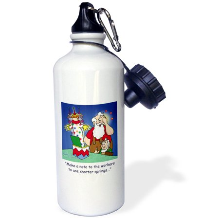 3Drose Larry Miller Cartoon About Santa Working On Toys For Christmas  Sports Water Bottle  21Oz