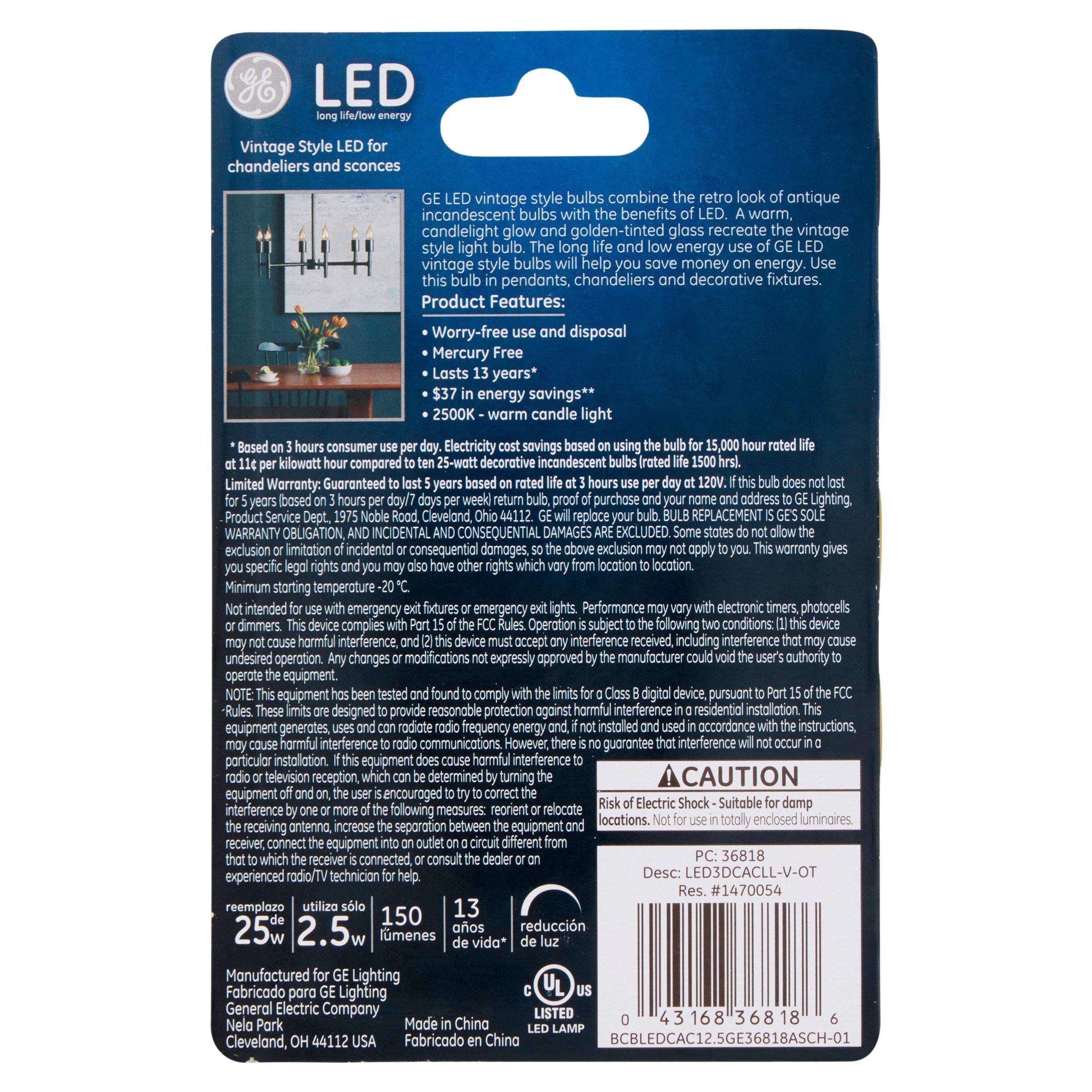 ge led 2 5w 150 lumens warm candle light cac bulb walmart com