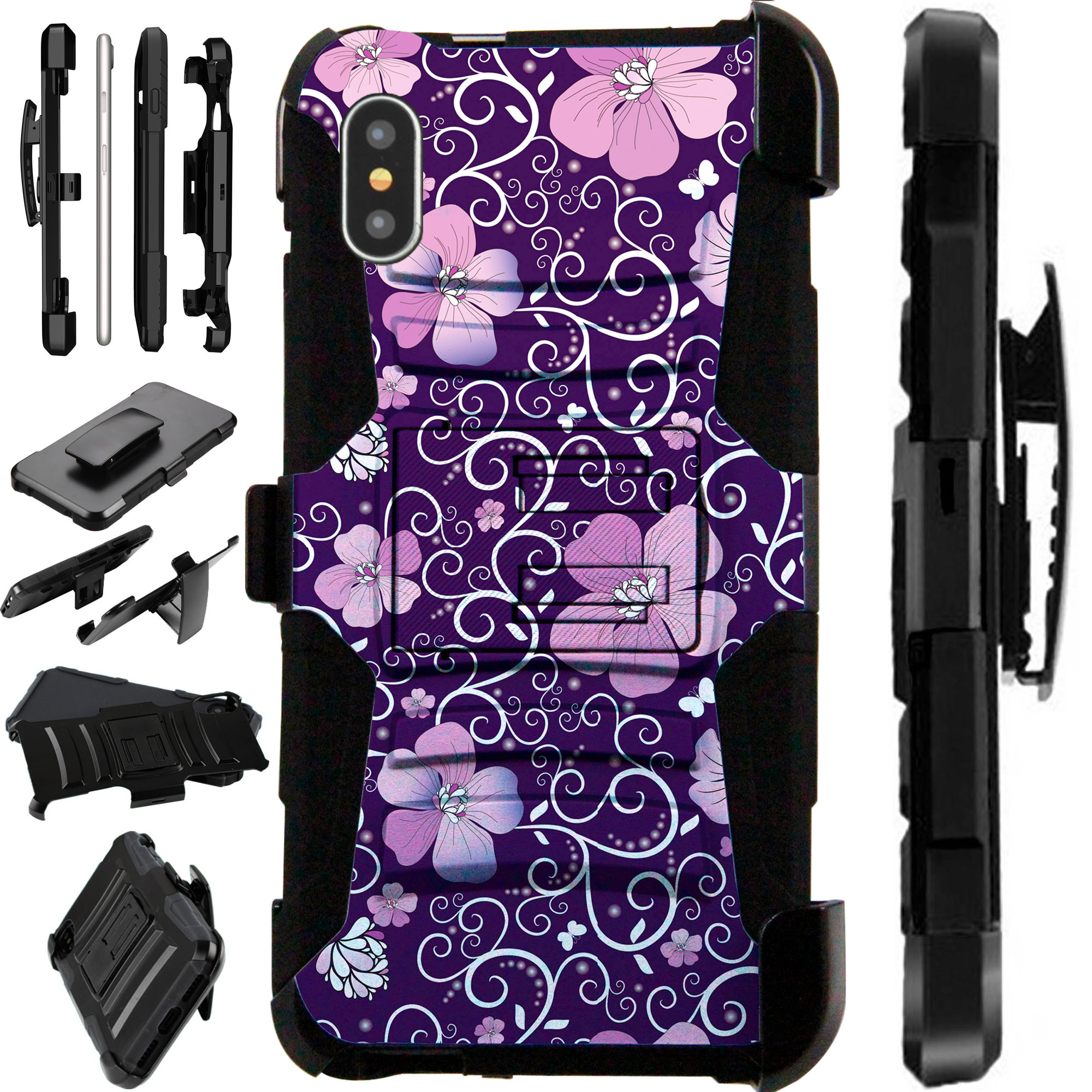 """Compatible With Apple iPhone XS Max 6.5"""" Case Armor Hybrid Silicone Cover Stand LuxGuard Holster (Purple Vine Flower)"""